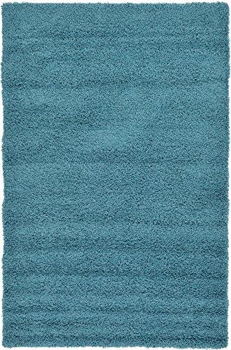A2Z Rug Cozy Shaggy Collection 5x8-Feet Solid Area Rug - Deep Aqua Blue -