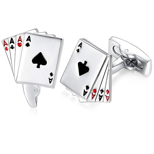 Gemelos en Forma de Poker Carta 4A Gemelos de Moda de Color ...