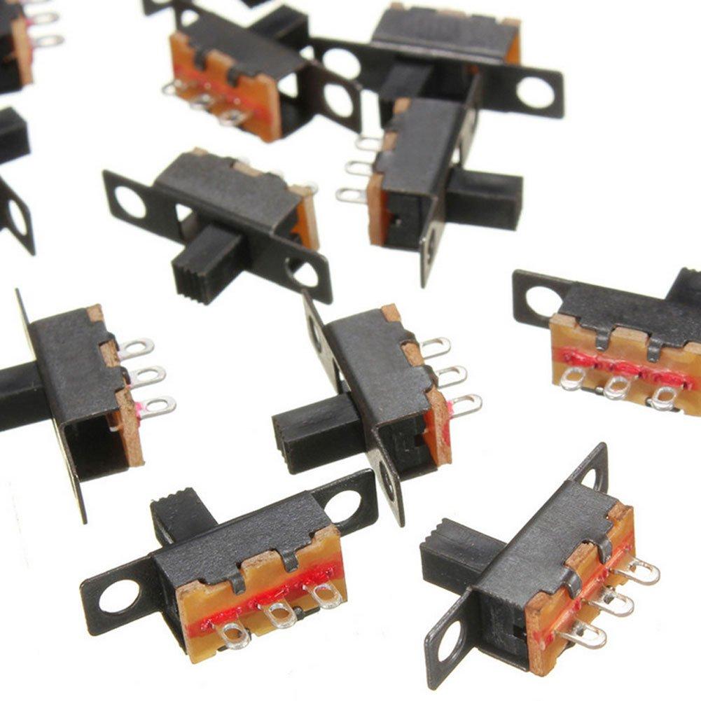 BleuMoo 20pcs Black Small Size SPDT Slide Switch 5V 0.3A DIY Projects