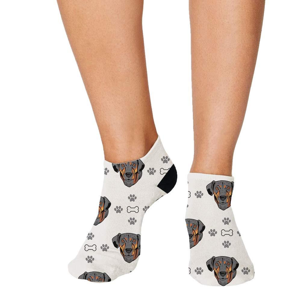 Catahoula Cur Dog Bones Paws Pattern Men-Women Adult Ankle Socks
