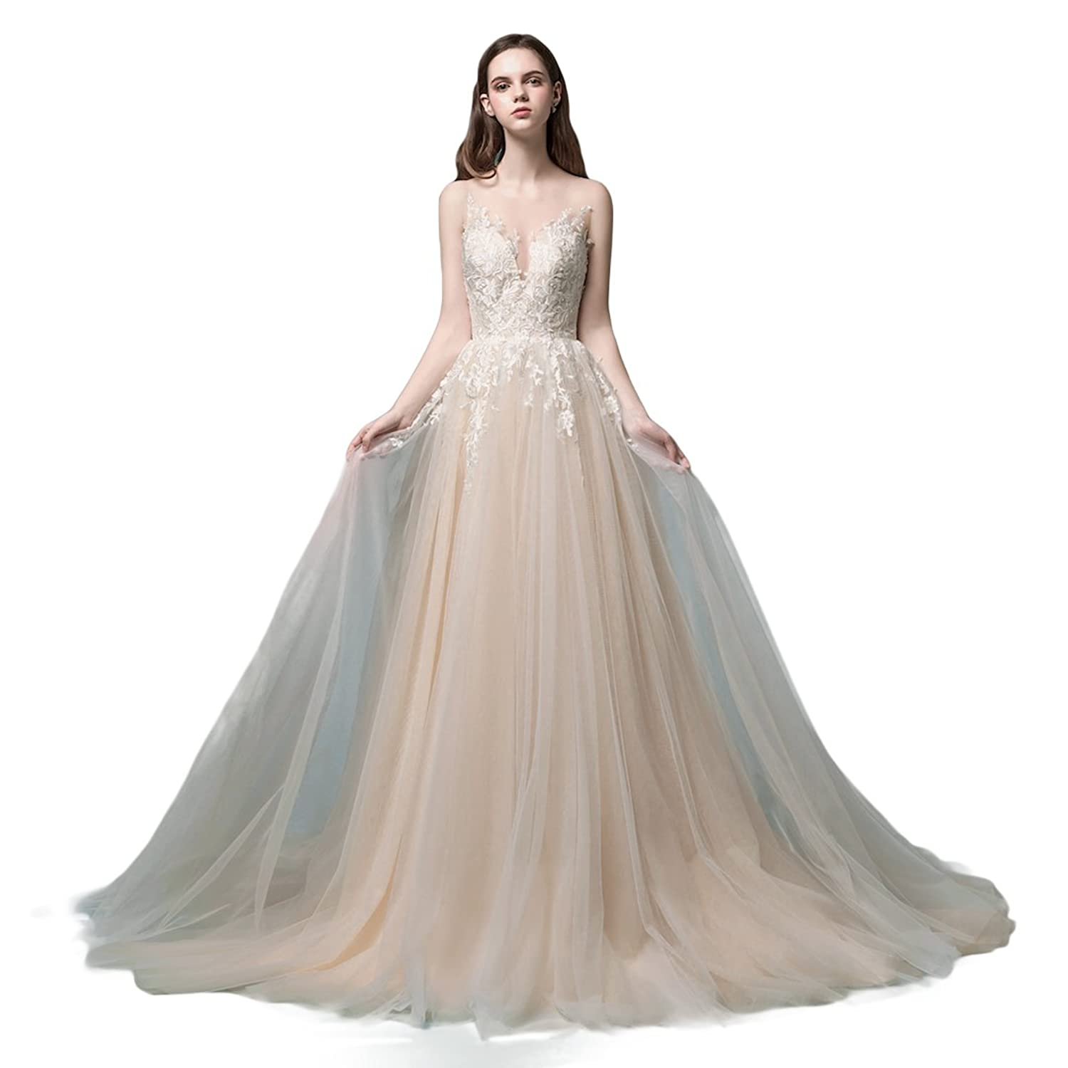 b8f9923a20f9 Color: Champagne with ivory lace applique. Customization: We specialized in  making wedding dress, ...