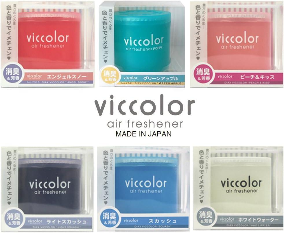 VICCOLOR Fresh Perfume car air freshener 6 Packs Assorted Popular scents, Angel Snow, Green Apple, Peach & Kiss, Light Squash, Squash, White Water scents