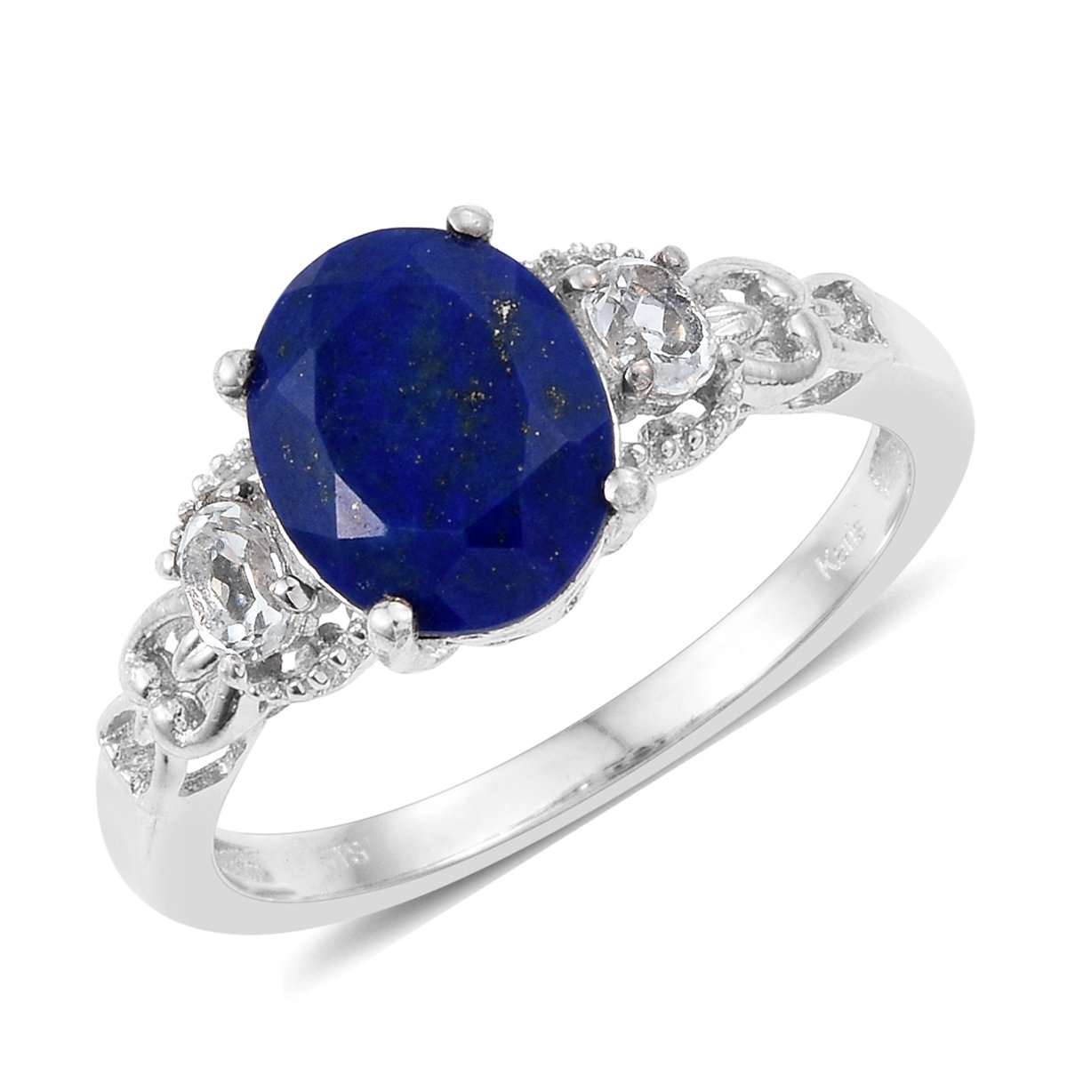 3.1 Cttw Oval Lapis Lazuli, White Topaz Gift Ring for Women Size 6