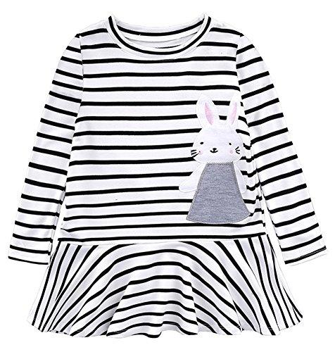 BomDeals Cute Toddler Girl Bunny Stripe Dress, Adorable Kids Sweet Shirt Top and Skirt Patchwork (Two Tone Stripe Shirt)