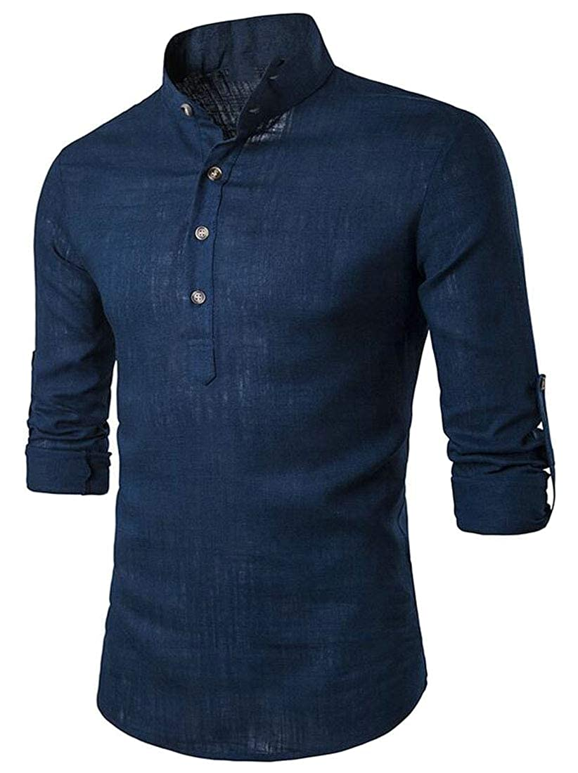 UUYUK Men Stand Collar Button Down Casual Long Sleeve Solid Color Dress Shirt