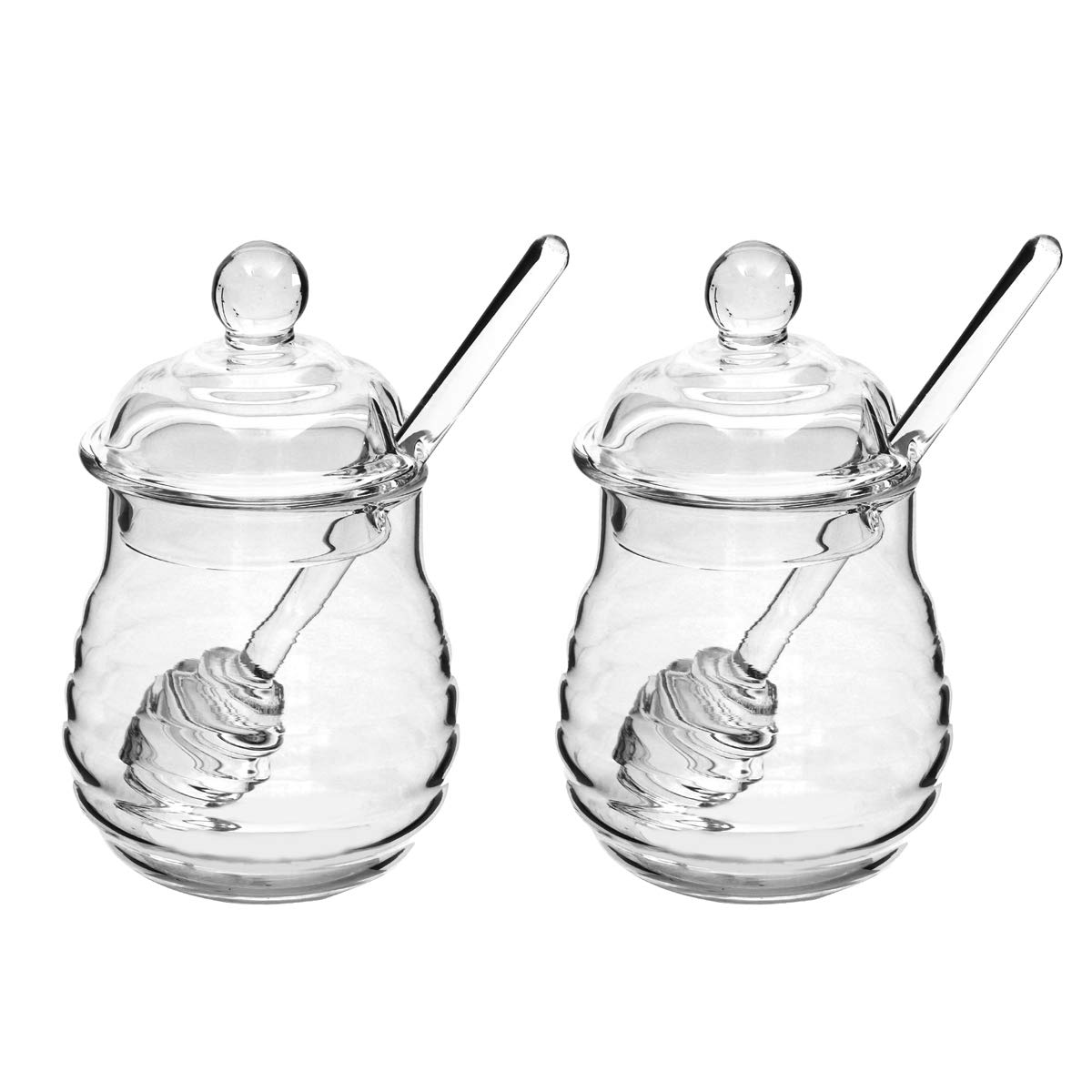 2PCS 250ml Glass Honey Pot Clear Jam Jar Set with Dipper and Lid for Home Kitchen Use