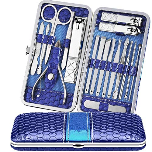 Teamkio Manicure Pedicure Set Nail Clippers Travel Hygiene Kit Stainless Steel Nail Cutter Care Set Scissor Tweezer Knife Ear Pick Utility Tools Grooming Kits with Leather Case 18 in 1 (18pcs, Blue)