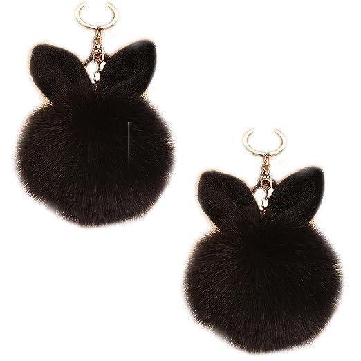 LissomPlume 2pcs Rabbit Ear Fur Ball Bag Charm Gold Keyring Pom Keychain  Pendant at Amazon Women s Clothing store  75131ec34