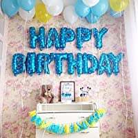 Rozi Decoration Happy Birthday Foil Toy Balloon, Blue (Pack of 13 Letters)