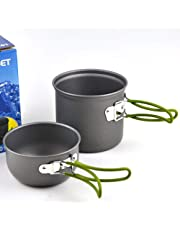 Lixada Portable Outdoor Cooking Set Anodised Aluminum Non-stick Pot Bowl Cookware Camping Picnic Hiking Utensils Camping Cooking Equipment