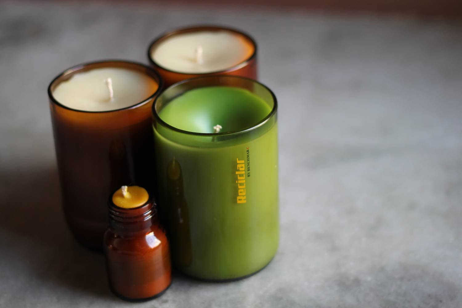100 /% Soy Wax Candles-Recycled Wine Bottle Tray Wine Candle Eco-Friendly Aromatherapy Candle