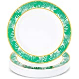 Disposable Plastic Plates, Hawaiian Luau Party Supplies (9 In, 24 Pack)