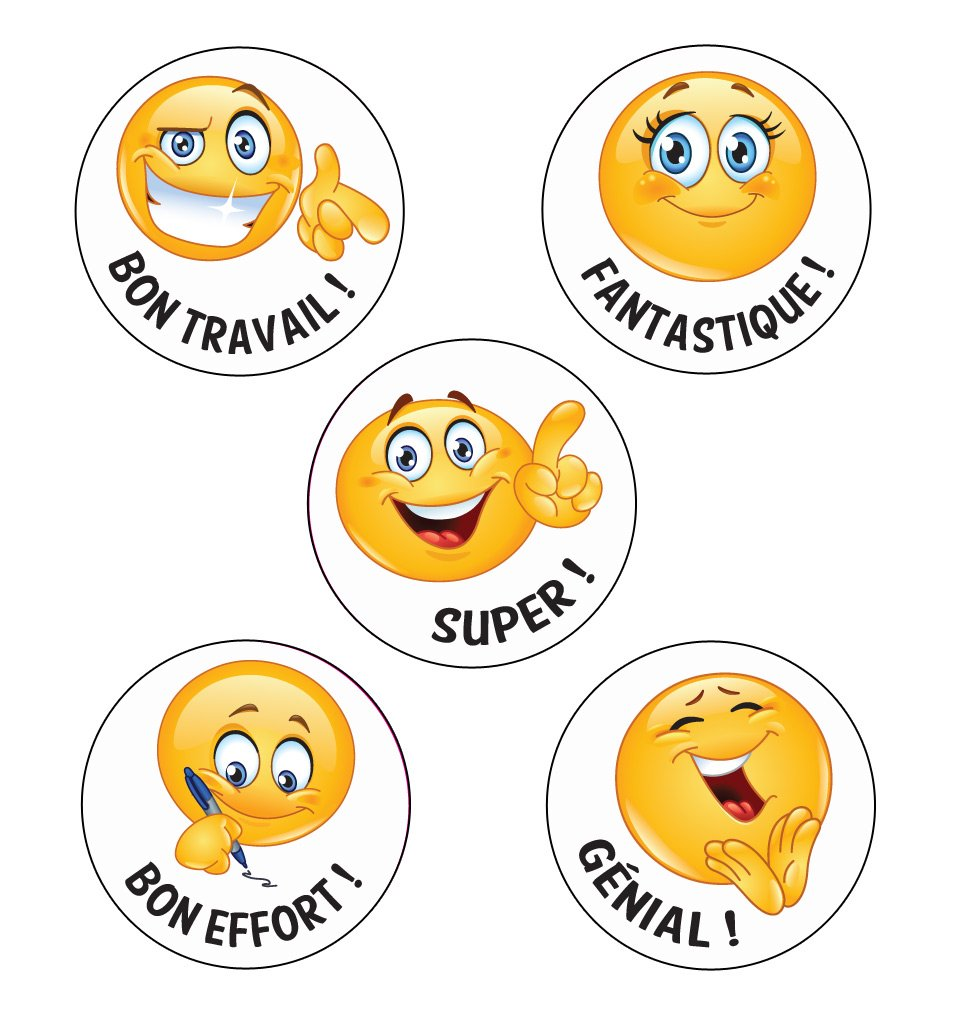 125 x Bon Travail ! French Language Emoji Stickers. Mix of Designs/Messages. 28mm School Stickers Classroom Capers