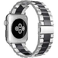 Simpeak Correa Compatible para Apple Watch 38mm 40mm, Correa Apple Watch 38mm 40mm de Acero Inoxidable Reemplazo de Banda para iWatch Todos los Modelos - Negro Plateado