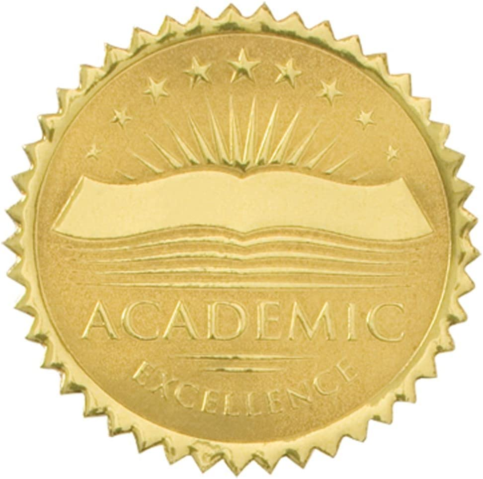 PaperDirect Academic Excellence Embossed Gold Certificate Seals, 102 Pack