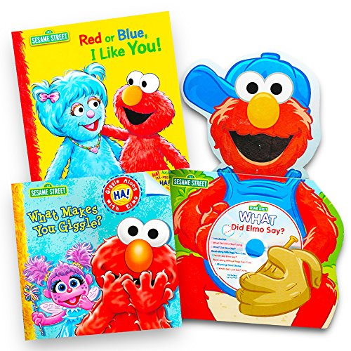 Sesame Street Elmo Book Super Set For Toddlers (3 Book Set -- What Makes you Giggle, Sing Along Book and Elmo Storybook) Giggle Elmo