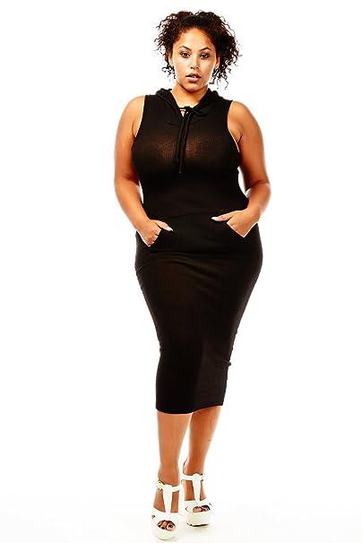 941676973e1c Womens Ladies Plus Size Curvy Fabulous Sleveless Hooded Dresses (1x ...