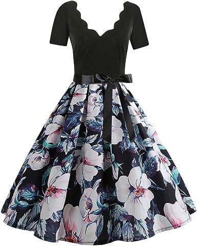 Audrey Hepburn Dress Women S Deep V Retro Dresses Vintage Dress Deep V Floral Print Short Sleeve Bow Cocktail Evening Swing Party Flare Midi Tea Party Swing Dress Amazon Co Uk Clothing