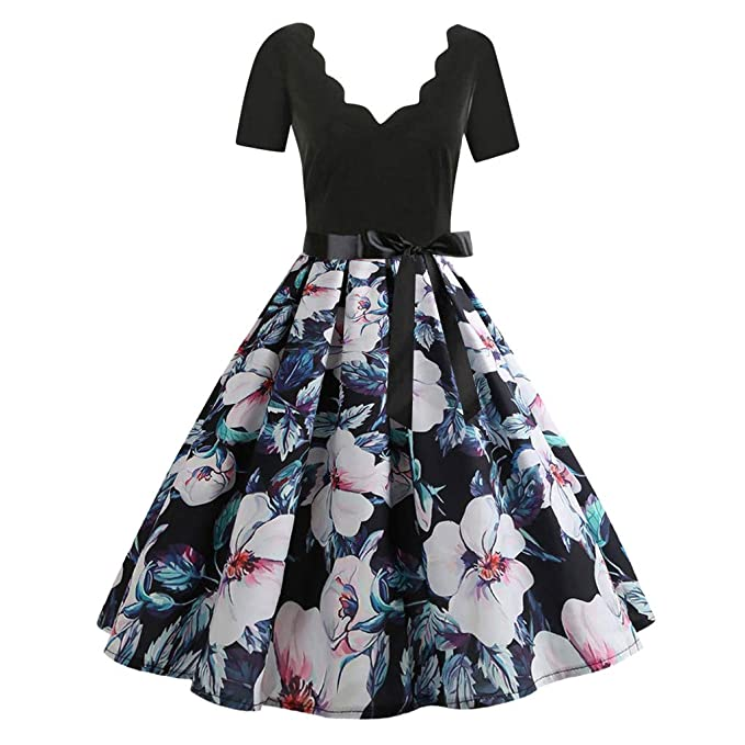 3ee86b0145a Audrey Hepburn Dress Women s Deep V Retro Dresses Vintage Dress Deep V Floral  Print Short Sleeve Bow Cocktail Evening Swing Party Flare Midi Tea Party  Swing ...