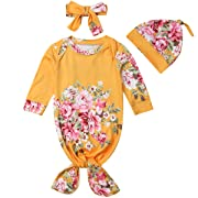 Baby Boys Girls Floral Knotted Sleeper with Headband Hat Coming Home Outfit | Mermaid Baby Gown (Yellow, 3-6 Months)