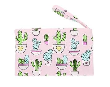 weimay Cute Cactus patrón pequeño bolso cartera con cremallera moneda bolsa caso Holder monedero para mujer señoras, tela, Rosa, 20 x 11 cm: Amazon.es: ...