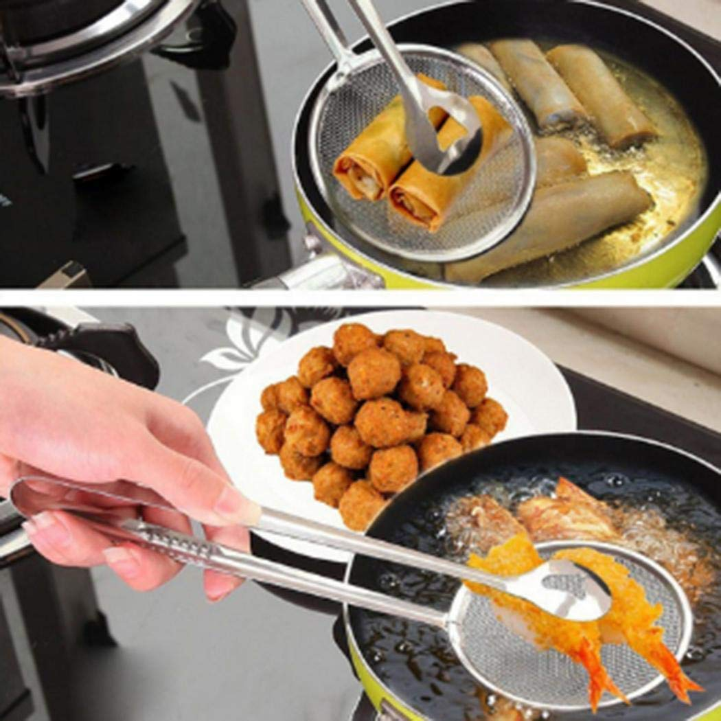 Hotstype New Kitchen Multi-functional Filter Spoon with Clip Food Oil-Frying BBQ Salad Filter Outdoor Cooking Tools & Accessories