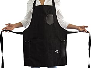 MASHO BLACK APRON for men chef, PREMIUM denim, useful multifunctional pockets, ideal for bbq, grill, kitchen or restaurants, the coolest inexpensive gift for grilling dads