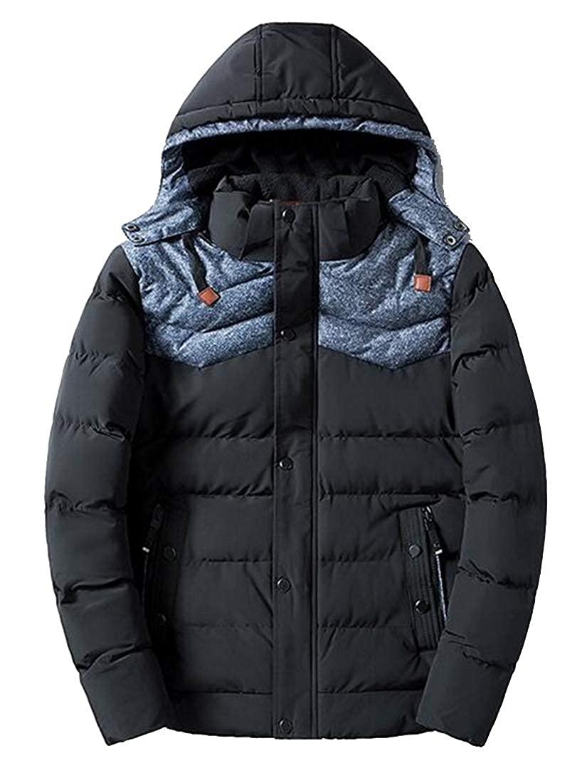 ARTFFEL Mens Winter Warm Hooded Thicker Contrast Down Quilted Jacket Coat