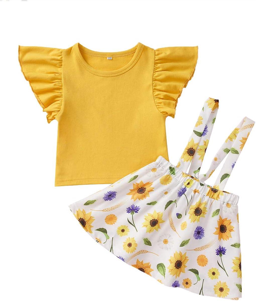 Yellow Pant Sets 2pcs YOUNGER TREE Newborn Baby Girls Clothing Ruffled Short Sleeve T-Shirt