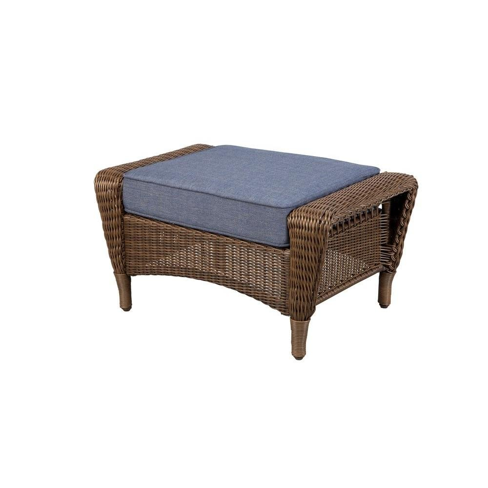 Hampton Bay Spring Haven Brown All-Weather Wicker Patio Ottoman with Sky Blue Cushion