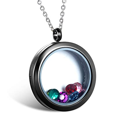 Jewelrywe living memory floating charm round glass locket pendant jewelrywe living memory floating charm round glass locket pendant necklace stainless steel magnetic closure mozeypictures Images