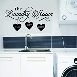 WOVTCP Laundry Wall Decal - Laundry Room Decor - Laundry Room Vinyl Wall Art - Laundry Vinyl Lettering - Vinyl Wall Quotes