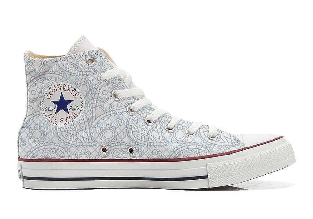 Converse Customized Unisex - Chaussures Paisley Coutume (Produit Artisanal) Sky Paisley Chaussures 44 EU 6794b1