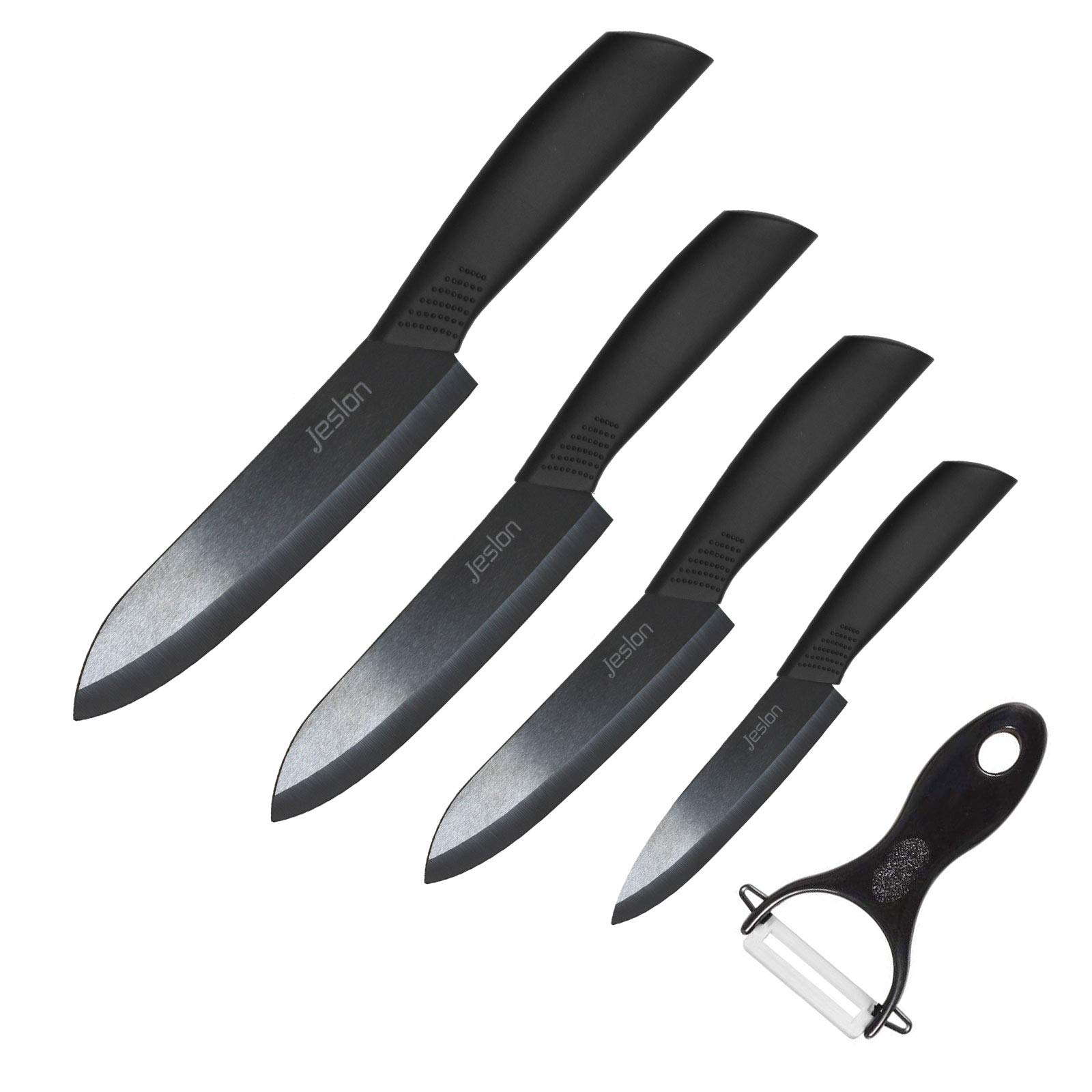 Jeslon Kitchen Knives Set, 5 Piece Ceramic Knives Black Blade 3inch Paring Knife, 4inch Fruit Knife, 5inch Utility Knife, 6inch Chef Knife and One Peeler