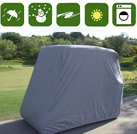 Happybuy 4 Passenger Golf Cart Cover, Waterproof and Sunproof Golf Cart Cover Fits EZ GO, Club Car and Yamaha, Dustproof and Durable – 112 L x 48 W x 66 H Grey