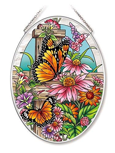 (Amia Monarch and Coneflowers Glass Oval Suncatcher)