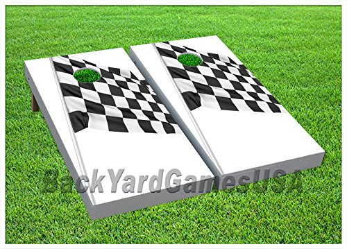 VINYL WRAPS Checkerd Flag Racing Cornhole Board DECALS Bag Toss Game Stickers -