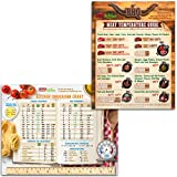 """2017 Best Design Kitchen Gifts Set: Most Useful Kitchen Metric Measurement Conversion Chart + BBQ Meat Temperature Guide Magnets (8.5"""" x 11"""") Big Fonts Easy to Read Comprehensive Cooking Information"""