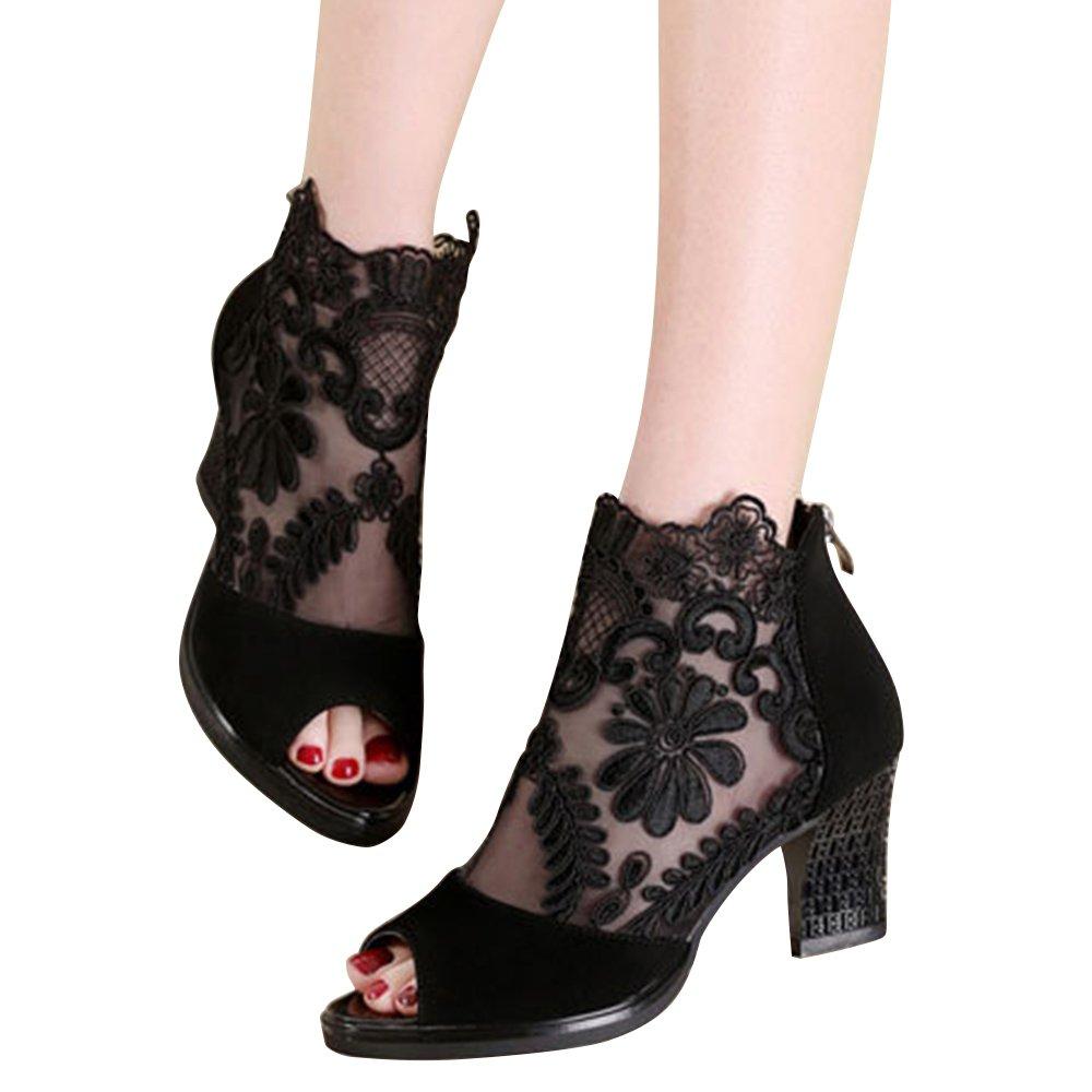 Xiakolaka Women's Pretty Lace Flowers Open Toes Sandals High Heels Ankle Boots Black US8.5