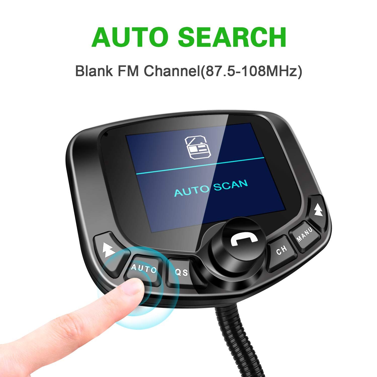 Wireless Radio Adapter Hands-Free Kit 1.8/'/'Color Display with Auto Search FM Blank Channel /& QC3.0 Fast Charging Function TF Card AUX Input//Output Support USB LoHi Bluetooth FM Transmitter for Car