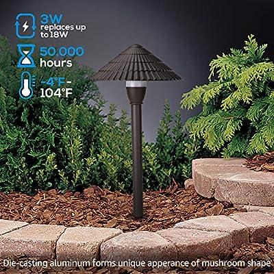 LEONLITE 3W LED Landscape Light, 12V Low Voltage, Waterproof Outdoor Pathway Lighting, Aluminum Housing, Mushroom Shape, UL-Listed Power Cord, Garden, Yard, Lawn, Patio, 5 Years Warranty, Pack of 4