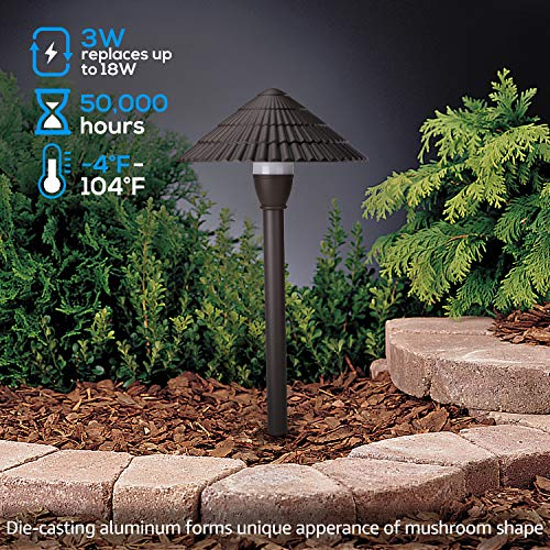 LEONLITE 12-Pack 3W LED Landscape Light, 12V Low Voltage, Waterproof Outdoor Pathway Lighting, Aluminum Housing, Mushroom Shape, UL-Listed Power Cord, 5 Years Warranty, 3000K Warm White by LEONLITE (Image #1)
