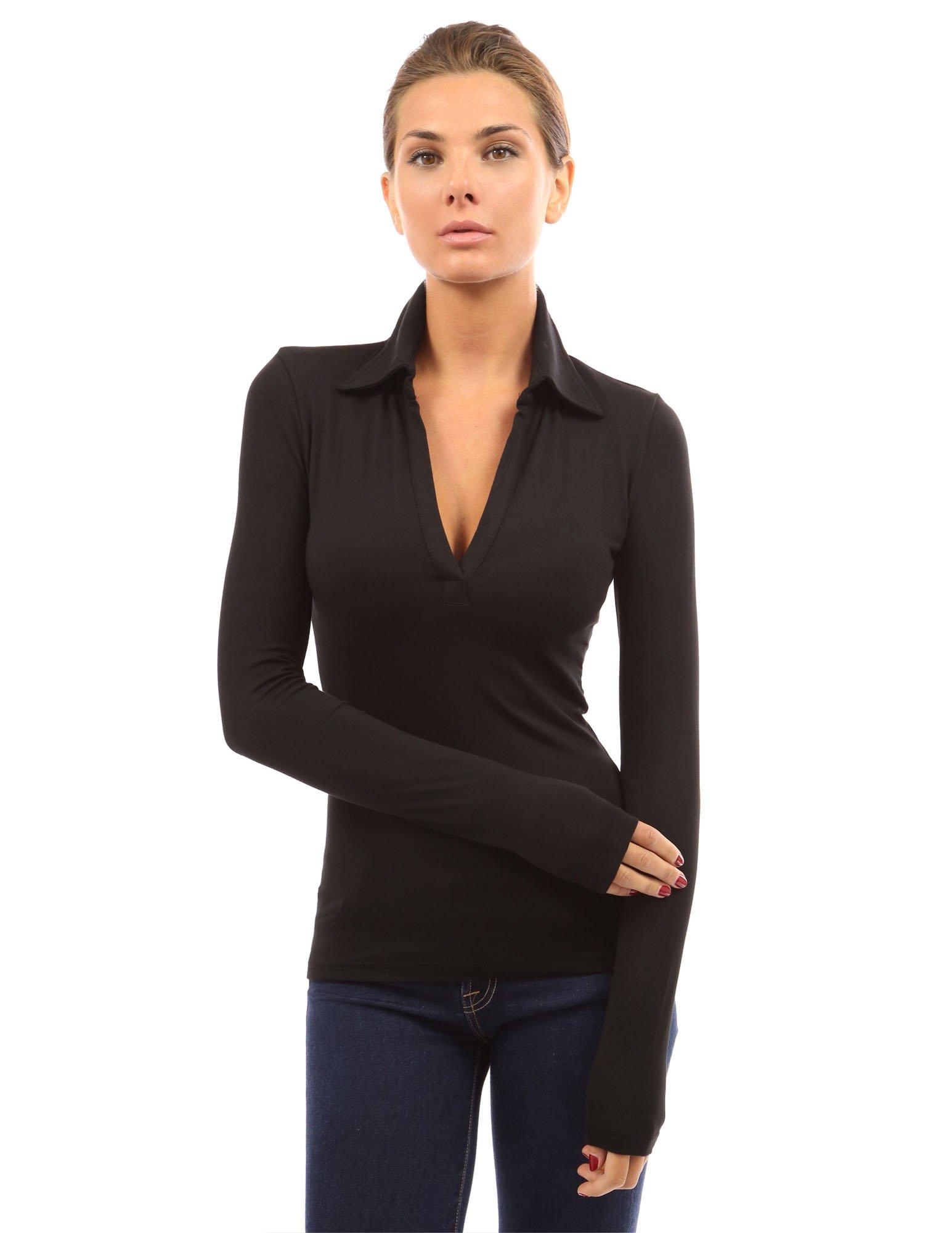 PattyBoutik Women V Neck Long Sleeve Polo Shirt (Black Large) by PattyBoutik