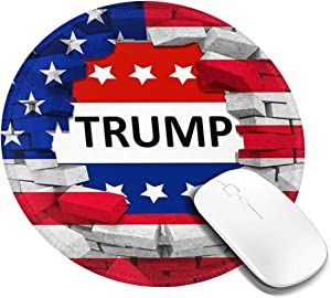 Mouse Pad, Anti Slip American USA Trump Flag Mouse Mat for Desktops, Computer, Pc and Laptops, Customized Round Mouse Pad for Office and Home