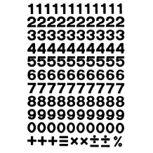 Numbers Letters Design - BLACK - Sticker sticker set character - 1 Sheet dimensions 27 cm x 18 cm