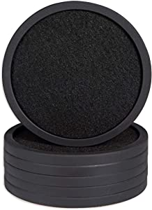 Coasters for Drinks Set of 6,Silicone Coasters with Removable Felt Pads,Coasters Protect Furniture From Water Stains,Coasters for Wooden with Non-Slip Bottom for Various Cups(Black)