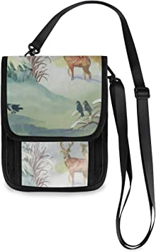 Neck Hanging Passport Cover Coin Pouch,Card Cash Wallet,Leather Crossbody Bag,
