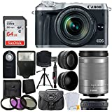 Canon EOS M6 Mirrorless Digital Camera with 18-150mm Lens (Silver) + 64GB Memory Card + Wide Angle & Telephoto Lens + Medium Gadget Bag + Quality Tripod + Slave Flash + UV Filter Kit – Ultimate Bundle