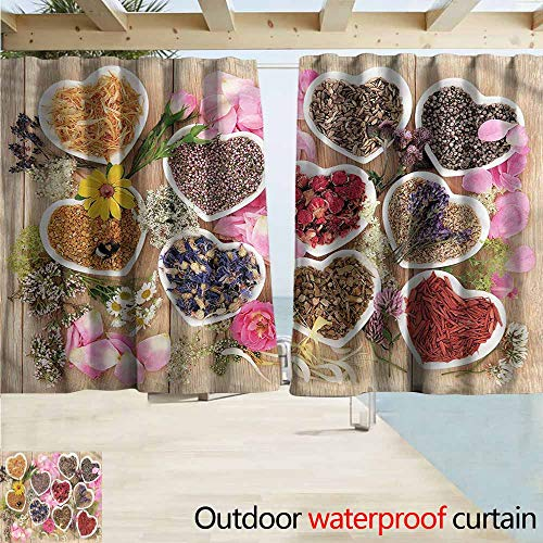 MaryMunger Rod Pocket Top Blackout Curtains/Drapes Floral Healing Herbs Cute Bowls Outdoor Privacy Porch Curtains W63x72L Inches