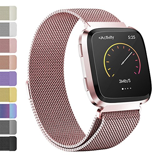 iGK Milanese Replacement Bands Compatible for Fitbit Versa, Stainless Steel Milanese Loop Metal Mesh Bracelet Unique Magnet Lock Wristbands Rosegold Small